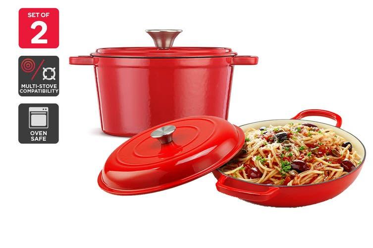 Kogan sells this red cast iron French pan and casserole dish