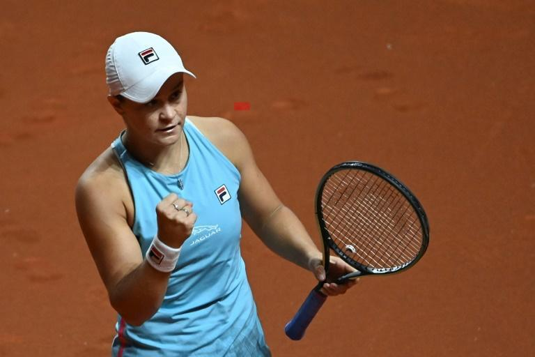 Ashleigh Barty celebrates her quarter-final win over Karolina Pliskova at the WTA tournament in Stuttgart on Friday
