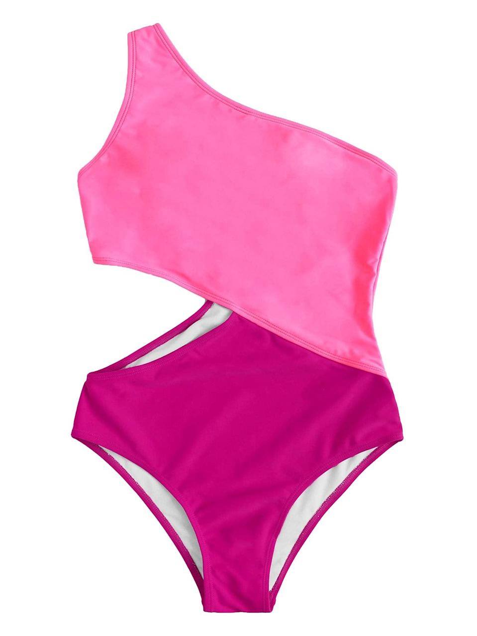"""<h2>SweatyRocks</h2><br>While it sounds like the name of a climbing gym, SweatyRocks is actually a longtime Amazon fashion brand with a host of top-rated swim and apparel styles to its name.<br><br><strong><em>SweatyRocks Cutout One-Shoulder Swimsuit<br></em></strong><br>Choose this Barbie pink cutout one-piece for beach blanket bingo dance vibes. The modern peekaboo cut is totally worth the potentially odd suntan lines. Our advice is to be militant about applying sunscreen and take a chance.<br><br><strong>SweatyRocks</strong> One Shoulder Cutout One Piece, $, available at <a href=""""https://amzn.to/2SAUQNC"""" rel=""""nofollow noopener"""" target=""""_blank"""" data-ylk=""""slk:Amazon"""" class=""""link rapid-noclick-resp"""">Amazon</a>"""