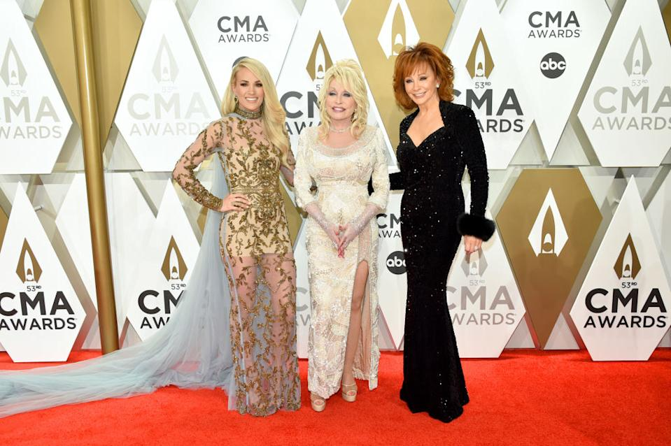 Carrie Underwood, Dolly Parton and Reba McEntire attend the 53rd annual CMA Awards at Music City Center on Nov. 13 in Nashville, Tennessee. (Photo: John Shearer/WireImage,)