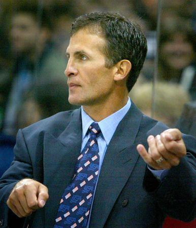 FILE PHOTO: Head coach of the U.S. national Icehockey team Tony Granato, instructs his team during their match against Germany in the German Ice Hockey Cup in Hamburg, Germany, November 10, 2004. REUTERS/Christian Charisius/File Photo
