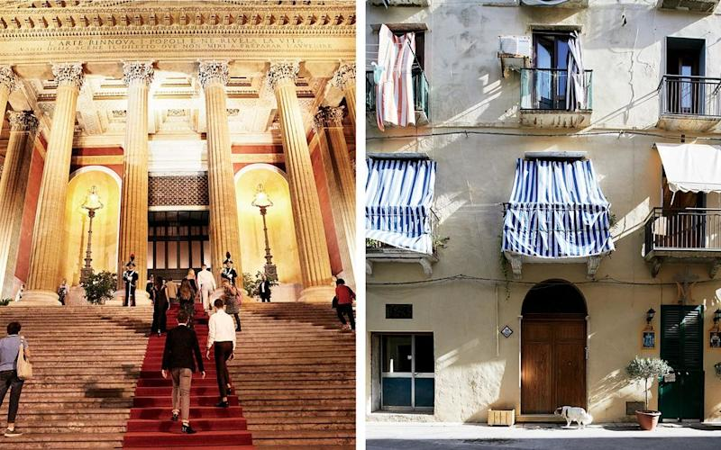 From left: Guests at the Teatro Massimo, the restored home of Palermo's city opera; the streets of Trapani.