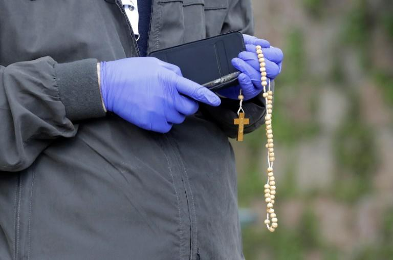 The pope led a rosary prayer in the Vatican Gardens