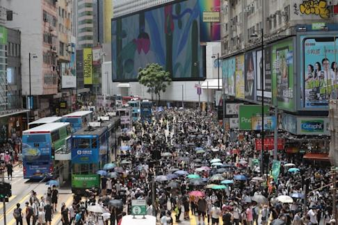 Crowds gather in Causeway Bay on Sunday to protest against the proposed national security law. Photo: Sam Tsang