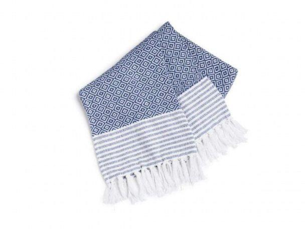 PHOTO: A simple and stylish blue and white throw blanket from HomeGoods. (HomeGoods)