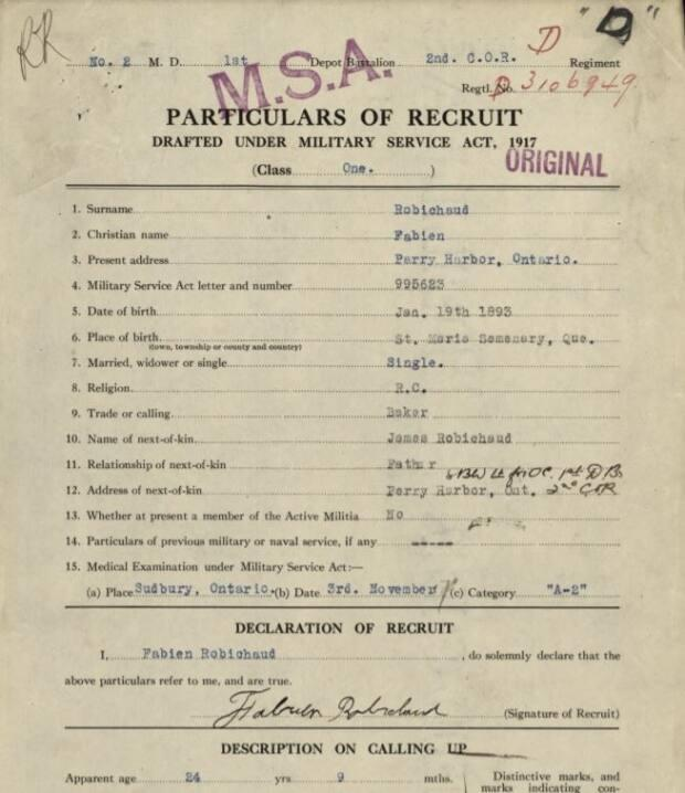 Robichaud's military records show he was born in Montreal in January 1893. He is listed as both 'Fabien' and 'Fabian'.