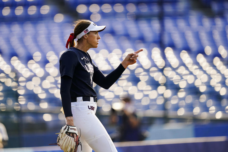 United States' Monica Abbott reacts after a strike out during a softball game against Mexico at the 2020 Summer Olympics, Saturday, July 24, 2021, in Yokohama, Japan. (AP Photo/Matt Slocum)