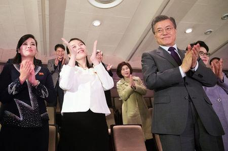 South Korean President Moon Jae-in and Kim Yo Jong, the sister of North Korea's leader Kim Jong Un applaud after watching North Korea's Samjiyon Orchestra's performance in Seoul, South Korea, February 11, 2018. Yonhap via REUTERS