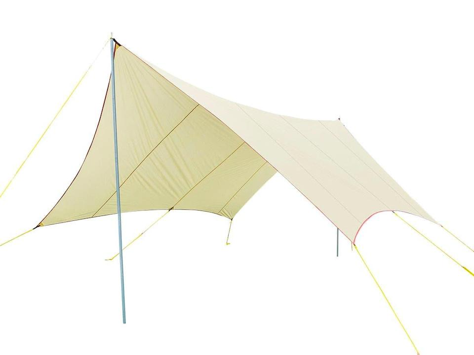 """If you're looking to provide SPF for an outdoor dining session, a large-scale tarp-esque sunshade like Monoprice's may be your best bet. There's room for your whole communal table beneath its 18-foot wingspan, and setup is surprisingly simple — you simply stake it down at six points and then raise the metal bar in the center. The shade is also waterproof, should the skies open up mid-'nic. <br> <br> <strong>Pure Outdoor</strong> Large Wing Tarp Shelter, $, available at <a href=""""https://go.skimresources.com/?id=30283X879131&url=https%3A%2F%2Fwww.monoprice.com%2Fproduct%3Fp_id%3D38502"""" rel=""""nofollow noopener"""" target=""""_blank"""" data-ylk=""""slk:Monoprice"""" class=""""link rapid-noclick-resp"""">Monoprice</a>"""