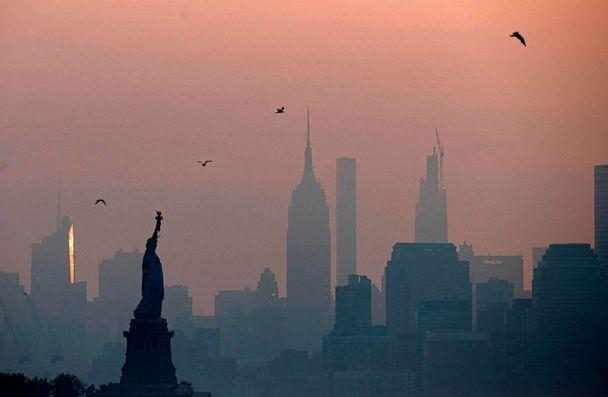 PHOTO: The Statue of Liberty is seen next to the Manhattan skyline during sunrise on July 9, 2020, in New York. (Johannes Eisele/AFP via Getty Images)