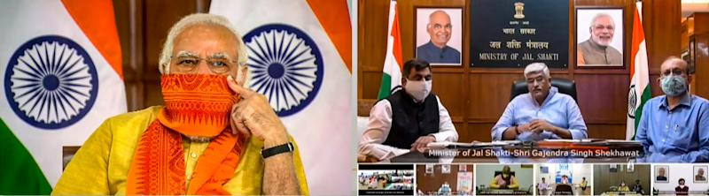 **EDS: SCREENSHOT FROM VIDEO STREAM** New Delhi: Prime Minister Narendra Modi during inauguration of six mega projects in Uttarakhand under the 'Namami Gange Mission' through a video conference, New Delhi, Tuesday, Sept. 29, 2020. Union Jal Shakti Minister Gajendra Singh Shekhawat is also seen. (PTI Photo) (PTI29-09-2020_000026B)
