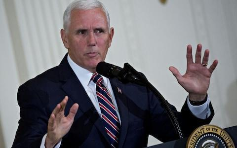 <span>Mike Pence, the US vice-president, has warned North Korea not to 'play' Trump</span> <span>Credit: Andrew Harrer/Bloomberg </span>