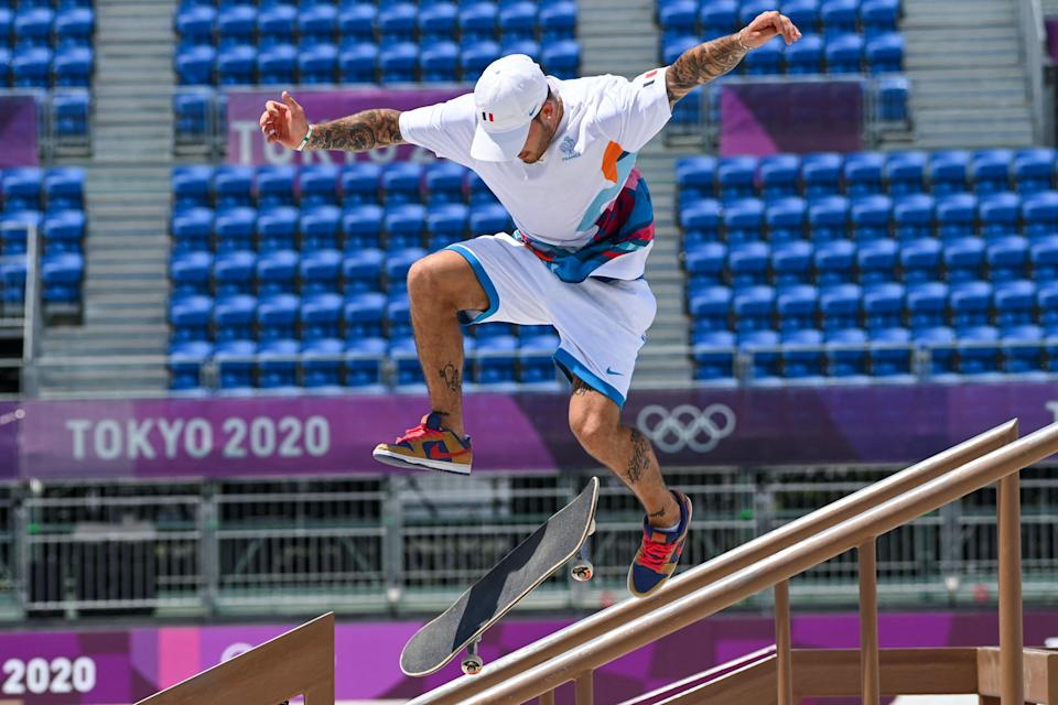 Aurelien Giraud, who ranked sixth in the men's street finals, wearing the French uniform.