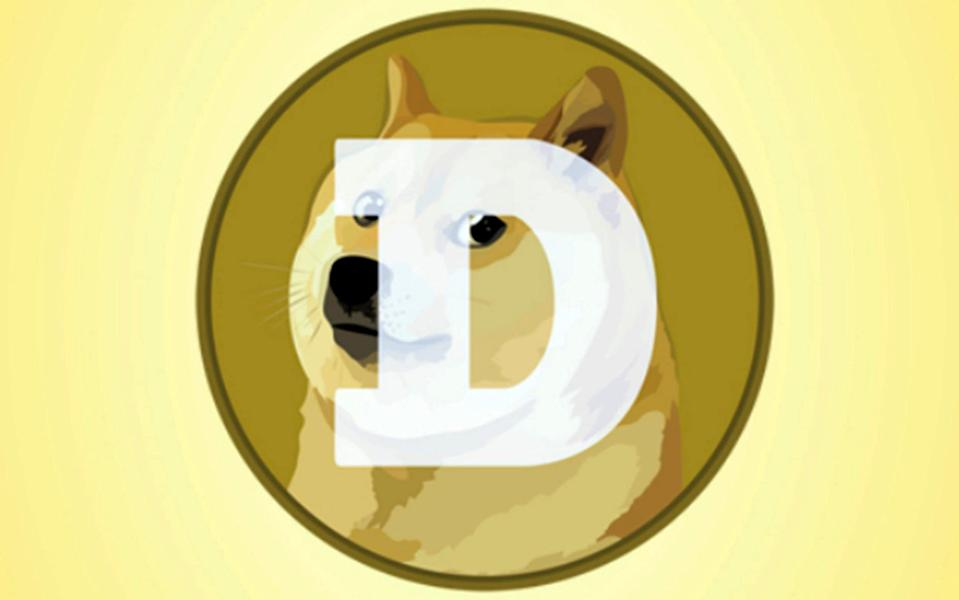 A mobile phone screen shows the logo for Dogecoin