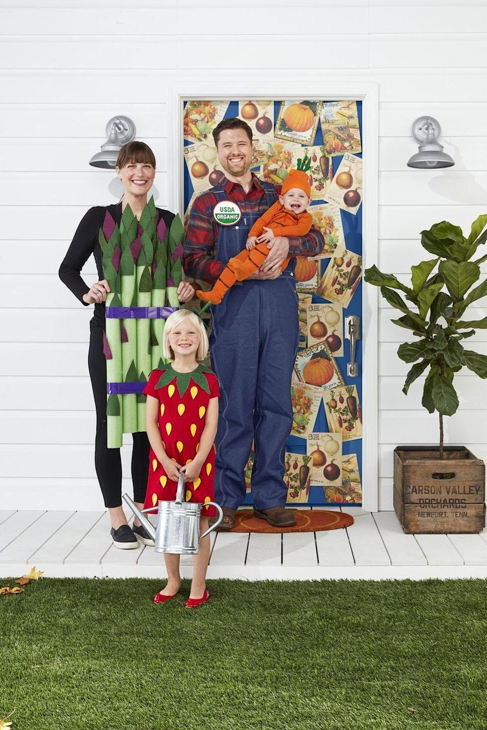 "<p>This adorable DIY family costume calls for one farmer in overalls, alongside some of the best veggies and fruits! </p><p><strong>RELATED: </strong><a href=""https://www.goodhousekeeping.com/holidays/halloween-ideas/g28106766/family-halloween-costumes/"" rel=""nofollow noopener"" target=""_blank"" data-ylk=""slk:28 Family Halloween Costume Ideas That'll Please the Whole Family"" class=""link rapid-noclick-resp"">28 Family Halloween Costume Ideas That'll Please the Whole Family</a></p>"