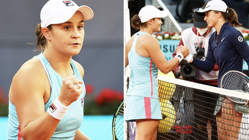 Ash Barty beat Iga Swiatek in a battle of the past two French Open champions. Image: Getty