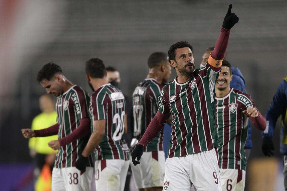 Brazil's Fluminense Fred celebrates after Brazil's Fluminense Nene scored against Argentina's River Plate during their Copa Libertadores football tournament group stage match at the Monumental Stadium in Buenos Aires on May 25, 2021. (Photo by Juan Mabromata / POOL / AFP) (Photo by JUAN MABROMATA/POOL/AFP via Getty Images)