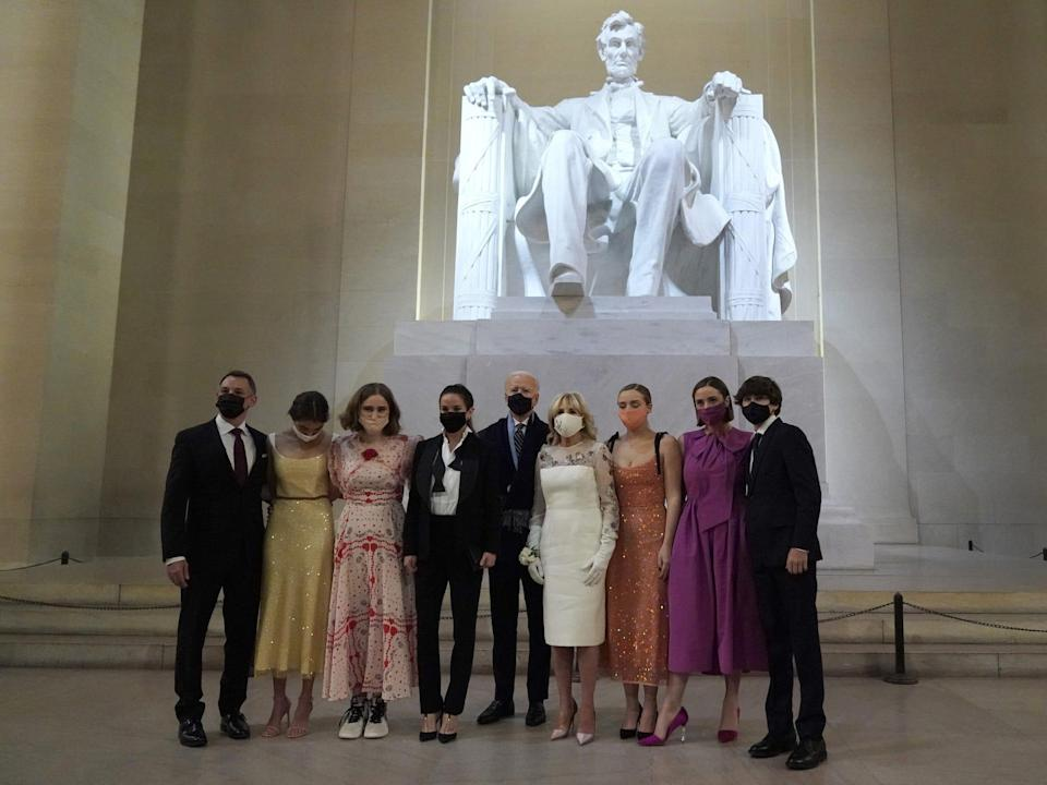 The Biden family poses at the Lincoln Memorial in Washington, DC, on January 20, 2021.
