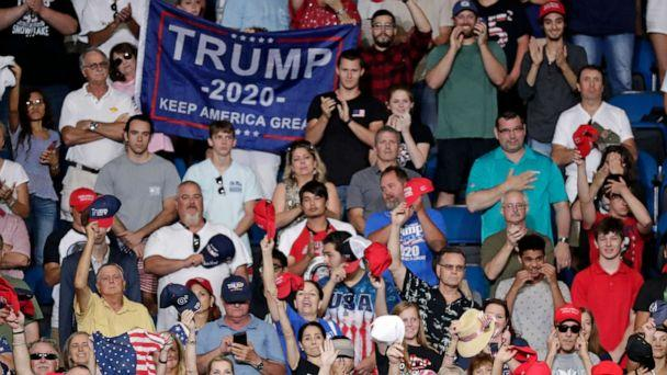 PHOTO: Supporters of President Donald Trump cheer during a rally where he will formally announce his 2020 re-election bid, June 18, 2019, in Orlando, Fla. (John Raoux/AP)