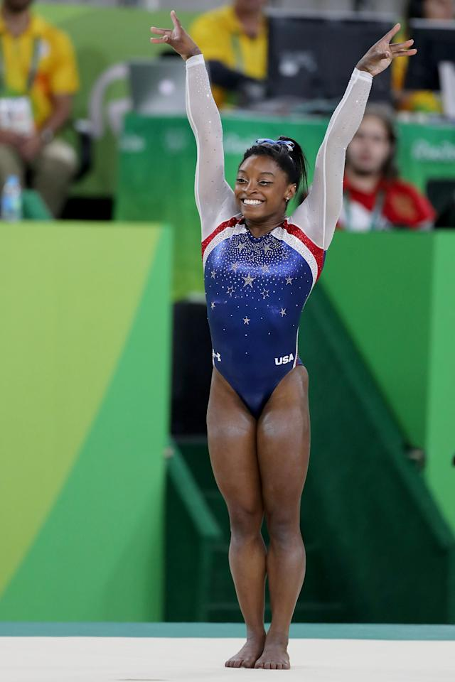 """<p>Gearing up for the 2020 Olympics, Simone debuted <a href=""""https://www.popsugar.com/fitness/Simone-Biles-Tumble-Video-GK-US-Classic-2019-46405482"""" class=""""ga-track"""" data-ga-category=""""Related"""" data-ga-label=""""https://www.popsugar.com/fitness/Simone-Biles-Tumble-Video-GK-US-Classic-2019-46405482"""" data-ga-action=""""In-Line Links"""">two brand-new moves</a> this year and is showing exactly zero sign of slowing down. Here's how to get a perfect 10 on a Simone costume:</p> <ul> <li> <a href=""""https://www.popsugar.com/buy/Simone-Biles-leotard-497439?p_name=Simone%20Biles%20leotard&retailer=amazon.com&pid=497439&price=60&evar1=fit%3Auk&evar9=46707845&evar98=https%3A%2F%2Fwww.popsugar.com%2Ffitness%2Fphoto-gallery%2F46707845%2Fimage%2F46708982%2FSimone-Biles&prop13=api&pdata=1"""" rel=""""nofollow"""" data-shoppable-link=""""1"""" target=""""_blank"""" class=""""ga-track"""" data-ga-category=""""Related"""" data-ga-label=""""https://www.amazon.com/Gymnastics-Leotards-GK-Firecracker-Dancewear/dp/B01J4CSD2G"""" data-ga-action=""""In-Line Links"""">Simone Biles leotard</a> ($60)</li> <li> <a href=""""https://www.popsugar.com/buy/Double-Face-Satin-Ribbon-497440?p_name=Double%20Face%20Satin%20Ribbon&retailer=amazon.com&pid=497440&price=8&evar1=fit%3Auk&evar9=46707845&evar98=https%3A%2F%2Fwww.popsugar.com%2Ffitness%2Fphoto-gallery%2F46707845%2Fimage%2F46708982%2FSimone-Biles&prop13=api&pdata=1"""" rel=""""nofollow"""" data-shoppable-link=""""1"""" target=""""_blank"""" class=""""ga-track"""" data-ga-category=""""Related"""" data-ga-label=""""https://www.amazon.com/LaRibbons-inch-Double-Satin-Ribbon/dp/B01HXCF5GQ"""" data-ga-action=""""In-Line Links"""">Double Face Satin Ribbon</a> ($8)</li> <li> <a href=""""https://www.popsugar.com/buy/Covergirl-Defining-Moment-All-Day-Eyeliner-Silver-Metallic-497441?p_name=Covergirl%20Defining%20Moment%20All%20Day%20Eyeliner%2C%20Silver%20Metallic&retailer=amazon.com&pid=497441&price=11&evar1=fit%3Auk&evar9=46707845&evar98=https%3A%2F%2Fwww.popsugar.com%2Ffitness%2Fphoto-gallery%2F46707845%2Fimage%2F46708982%2FSimone-Biles&prop13=api&pdata=1"""" rel"""