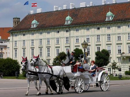 FILE PHOTO: A traditional Fiaker horse-drawn carriage passes the Leopoldine Wing of the Hofburg palace hosting the presidential office in Vienna, Austria May 19, 2016. REUTERS/Heinz-Peter Bader/File Photo
