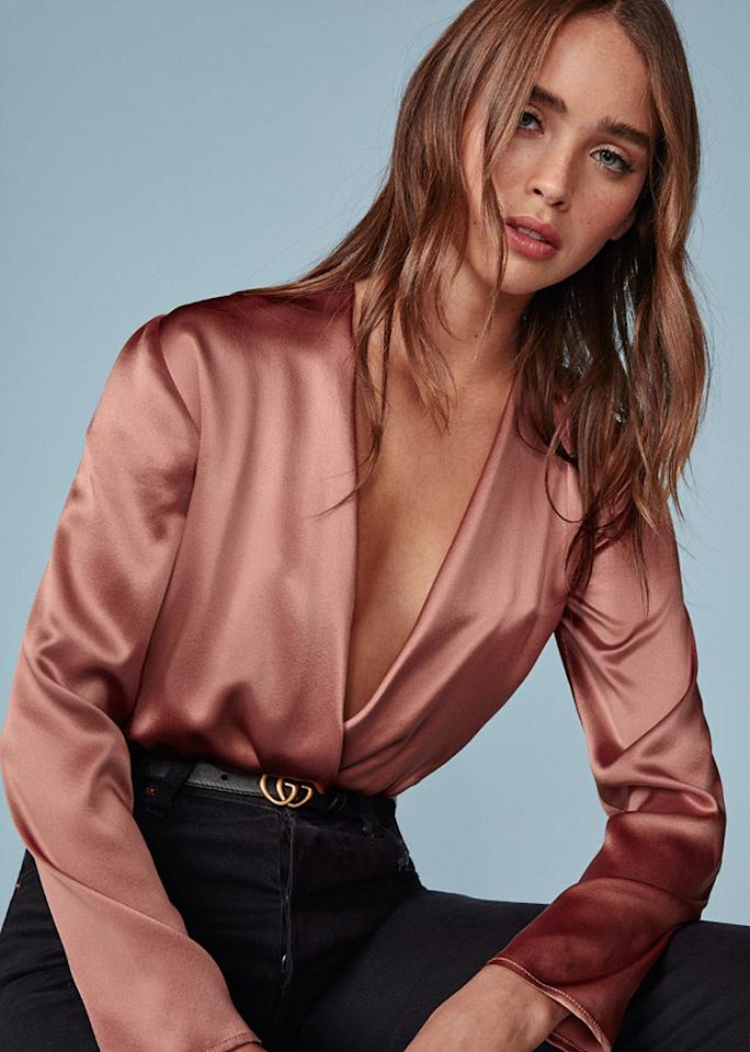 """Reformation Aerin Bodysuit, $168; at <a rel=""""nofollow"""" href=""""https://www.thereformation.com/products/aerin-bodysuit-praline"""" rel="""""""">Reformation</a>"""