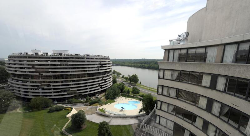 This photo taken May 30, 2012 shows a view of the Watergate complex from the top floor of the Watergate Office Building in Washington Forty years ago police in Washington arrested five men breaking in to the Democratic National Committee offices in Washington. The name of the complex they were breaking into became infamous: the Watergate. These days, though, unless you know where to look, there's little marking the location of the 1972 crime that ultimately led to the resignation of President Richard Nixon. The office building that was the site of the break in is still in use, though the tenants have changed. The adjacent hotel where the burglars stayed is currently closed. And another hotel across the street where a lookout waited with a walkie-talkie, monitoring the burglars' progress, has been turned into a college dorm. (AP Photo/Susan Walsh)