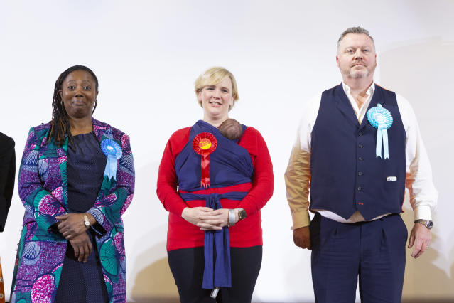 Fellow Labour MP Stella Creasy Labour accepts her victory in the 2019 general election with daughter Hettie in a baby sling (Getty)