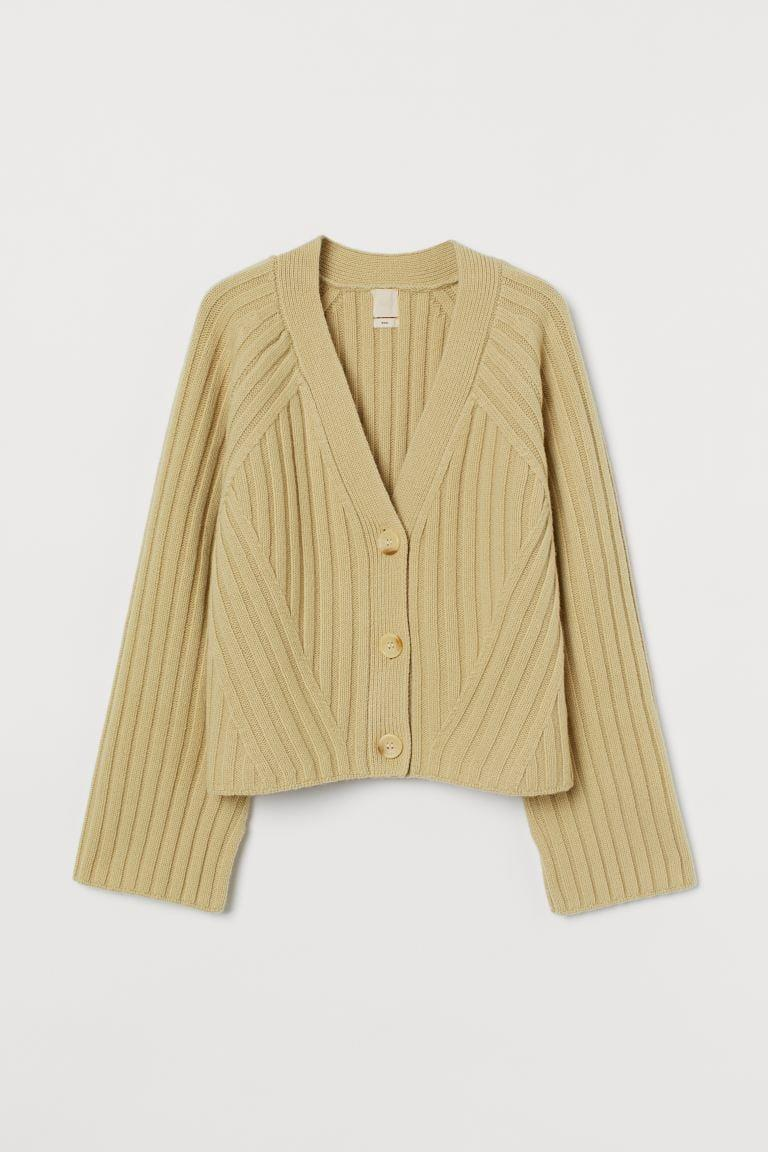 <p>I like the lively hue of this <span>Rib-knit Wool Cardigan</span> ($60).</p>