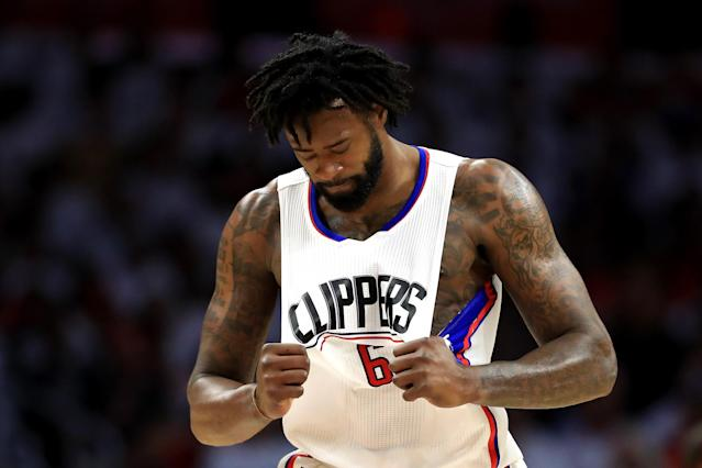 "<a class=""link rapid-noclick-resp"" href=""/ncaaf/players/255448/"" data-ylk=""slk:DeAndre Jordan"">DeAndre Jordan</a> will likely see his offensive numbers drop without <a class=""link rapid-noclick-resp"" href=""/nba/players/3930/"" data-ylk=""slk:Chris Paul"">Chris Paul</a>. (Photo by Sean M. Haffey/Getty Images)"