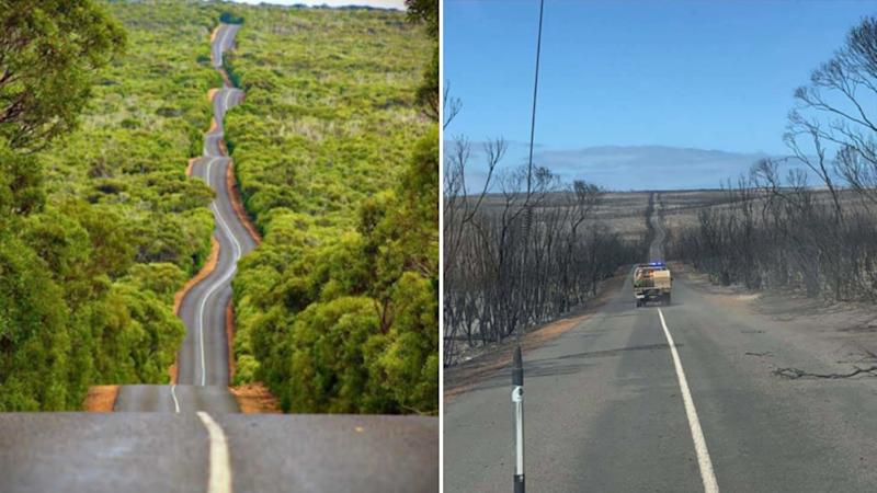 Kangaroo Island in 2017 and (right) after bushfires ravaged the tourist island. Source: Reddit/kernpanic and Instragram/ajcx89