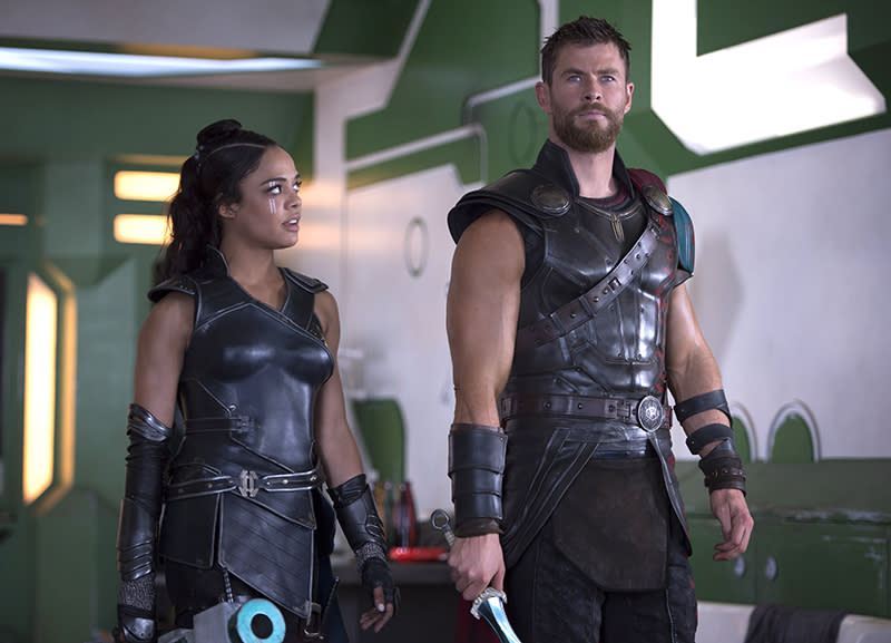 "<p>With Jane Foster (Natalie Portman) <a rel=""nofollow"" href=""https://www.yahoo.com/movies/thor-ragnarok-now-we-know-why-natalie-portmans-jane-wont-be-coming-back-161820304.html"">out of the picture this time around</a>, Thor spends some quality time with Valkyrie (Tessa Thompson), an Asgardian warrior goddess who, in the comics, is a sometimes love interest of the big guy. (Photo: Marvel) </p>"