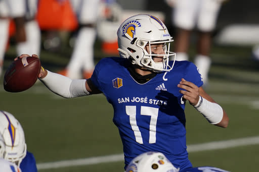 San Jose State quarterback Nick Starkel (17) throws against Boise State during the first half of an NCAA college football game for the Mountain West championship, Saturday, Dec. 19, 2020, in Las Vegas. (AP Photo/John Locher)
