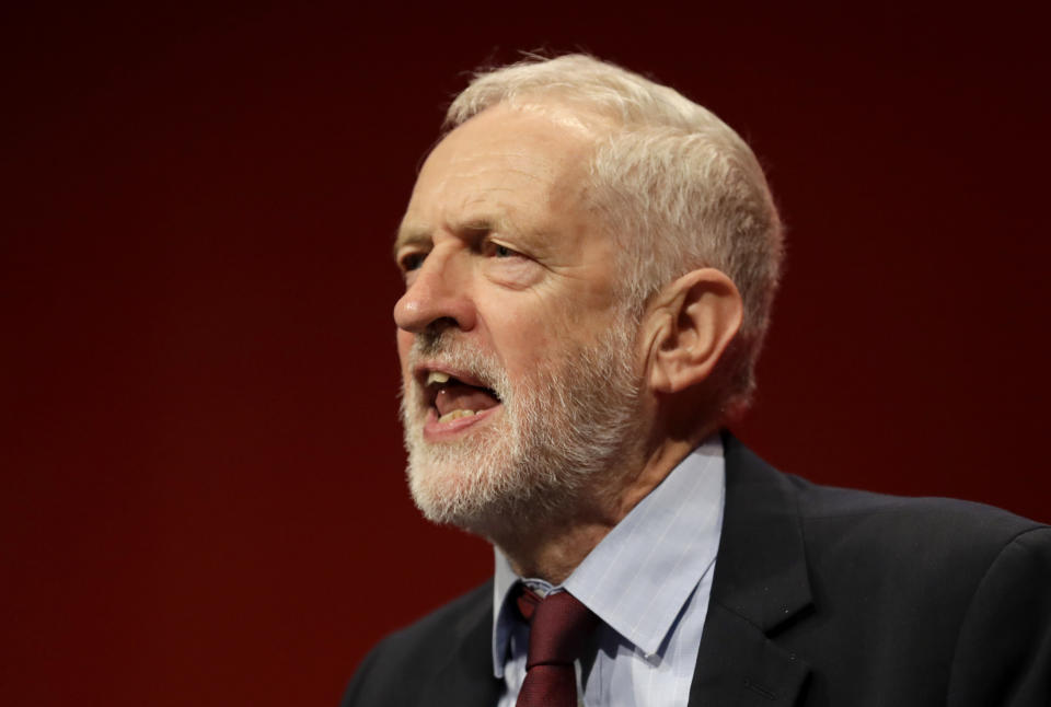 FILE - In this Tuesday, Sept. 24, 2019 file photo, Jeremy Corbyn, leader of Britain's opposition Labour Party gives an impromptu speech during the Labour Party Conference at the Brighton Centre in Brighton, England. Longtime U.K. Labour legislator Louise Ellman said Thursday Oct. 17, 2019, that she is leaving the party after 55 years because of Jeremy Corbyn's failure to confront mounting anti-Semitism in its ranks. (AP Photo/Kirsty Wigglesworth, File)