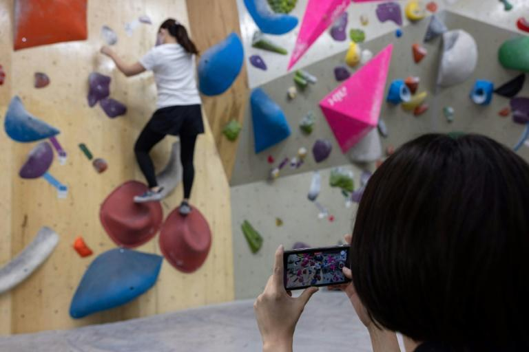 Japanese at a bouldering gym in Tokyo weren't particularly interested in the Games, even after the addition of new sports