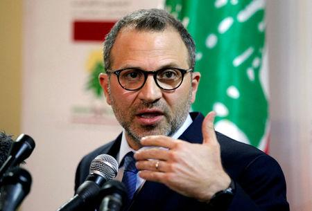 Lebanon's FM Bassil speaks during a news conference in Beirut