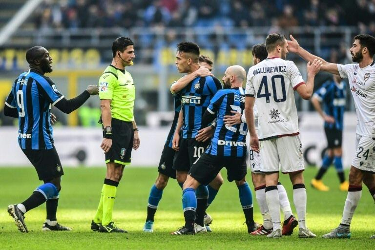 Inter's Lautaro Martinez risks missing the Milan derby after receiving a red card in the Cagliari draw