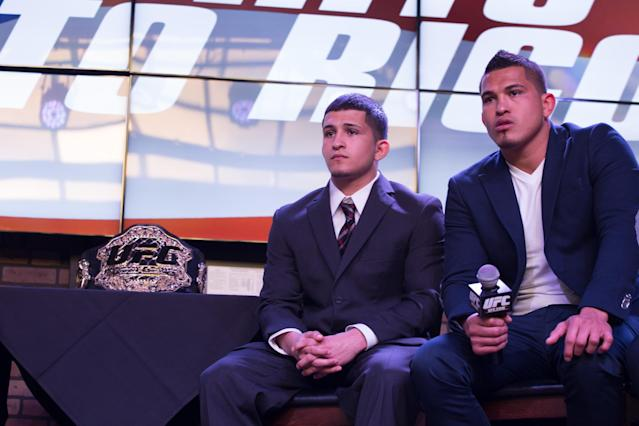 SAN JUAN, PUERTO RICO - MARCH 26: Sergio Pettis and his brother Anthony Pettis, UFC lightweight champion during a press conference to promote the sport in the island on March 26, 2014 in San Juan, Puerto Rico. (Photo by Angel Valentin/Getty Images)