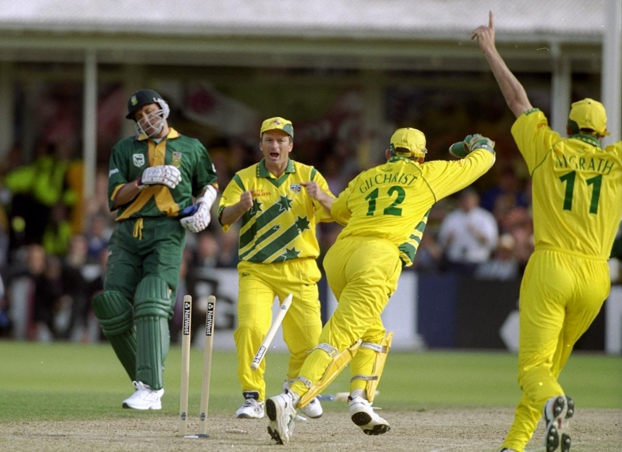 17 Jun 1999:  Steve Waugh celebrates as Allan Donald of South Africa is run out and Australia go through to the World Cup final after a dramatic semi-final at Edgbaston in Birmingham, England. The match finished a tie and Australia went through after finishing higher in the Super Six table. \ Mandatory Credit: Craig Prentis /Allsport