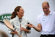 """<p>Kate came in last in the race, and Prince William teased her as she received her """"prize,"""" a giant wooden spoon.</p>"""