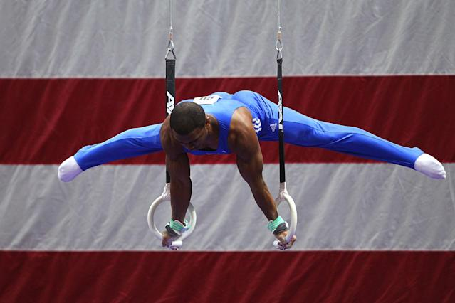 ST. LOUIS, MO - JUNE 9: John Orozco competes on the rings during the Senior Men's competition on Day Three of the Visa Championships at Chaifetz Arena on June 9, 2012 in St. Louis, Missouri. (Photo by Dilip Vishwanat/Getty Images)
