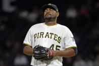Pittsburgh Pirates relief pitcher Michael Feliz collects himself on the mound after giving up back to back solo home runs to Seattle Mariners' Omar Narvaez and Austin Nola during the sixth inning of a baseball game in Pittsburgh, Tuesday, Sept. 17, 2019. (AP Photo/Gene J. Puskar)