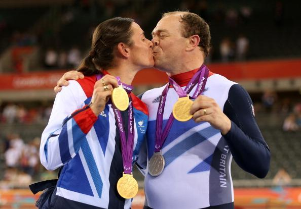 Husband and wife, Sarah and Barney Storey pose with the medals they have won in the Track Cycling events on day 4 of the London 2012 Paralympic Games at Velodrome on September 2, 2012 in London, England. (Photo by Bryn Lennon/Getty Images)