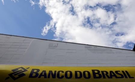 The Banco do Brasil logo is seen outside a bank office in Sao Paulo