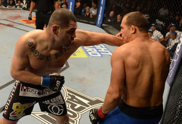 Cain Velasquez versus Junior dos Santos during their heavyweight championship fight at UFC 155 on December 29, 2012 at MGM Grand Garden Arena in Las Vegas, Nevada. (Photo by Donald Miralle/Zuffa LLC/Zuffa LLC via Getty Images)