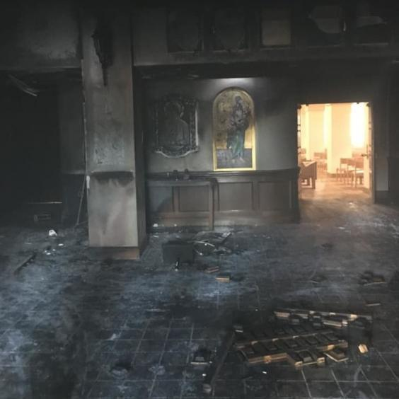 Fire damage at the Queen of Peace Catholic Church in Ocala, Florida, after the attack by Steven Shields (Marion County Sheriff's Office)