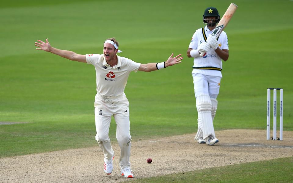 Stuart Broad of England appeals successfully for the wicket of Shan Masood of Pakistan during Day Two - GETTY IMAGES