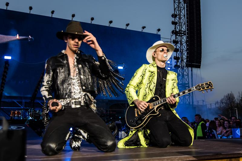 Italian singer Achille Lauro and Boss Doms perform live on stage at Party like a Deejay for Radio Deejay at MIND Milano Innovation District area Expo. Milan (Italy), June 22th, 2019 (photo by Elena Di Vincenzo/Archivio Elena Di Vincenzo/Mondadori via Getty Images)