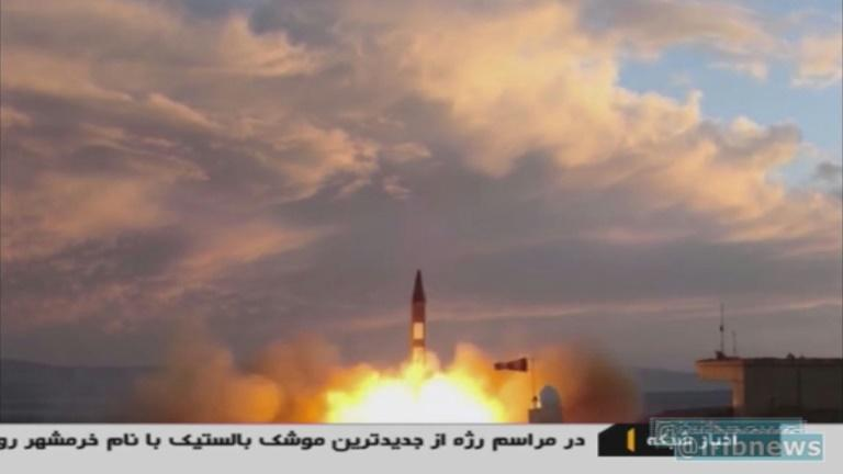 A TV grab taken on September 23, 2017 from the Iranian Republic Islamic Broadcasting (IRIB) shows a Khoramshahr missile being launched from an undisclosed location as Iran said it had successfully tested a new medium-range missile