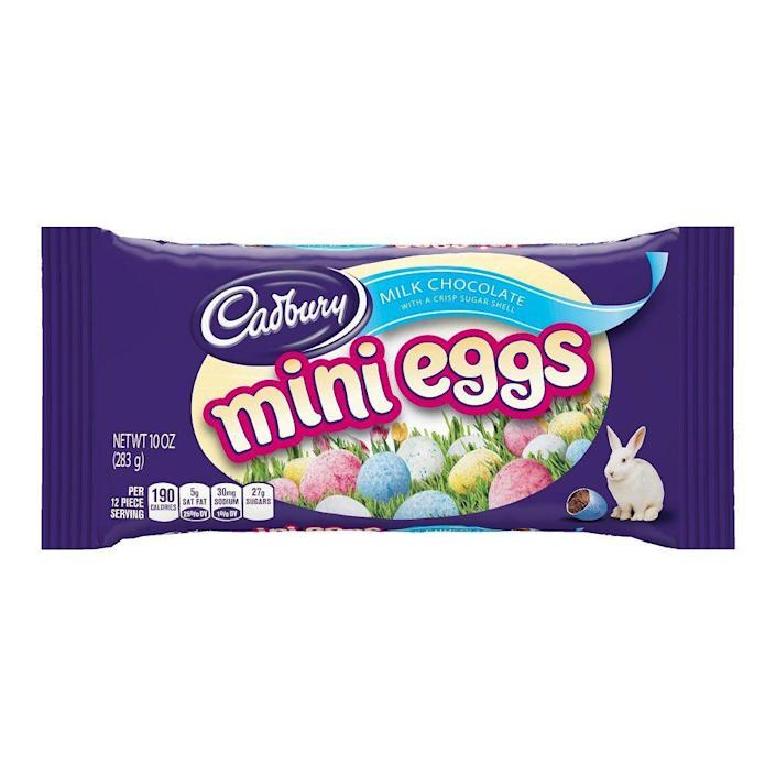 """<p><strong>Cadbury</strong></p><p>amazon.com</p><p><strong>$17.90</strong></p><p><a href=""""https://www.amazon.com/dp/B00HZTPFGI?tag=syn-yahoo-20&ascsubtag=%5Bartid%7C10070.g.2201%5Bsrc%7Cyahoo-us"""" rel=""""nofollow noopener"""" target=""""_blank"""" data-ylk=""""slk:SHOP NOW"""" class=""""link rapid-noclick-resp"""">SHOP NOW</a></p><p>These milk chocolate-filled goodies offer delight in every bite. Put them in plastic Easter eggs, <a href=""""https://www.womansday.com/food-recipes/g16571066/easter-cookies/"""" rel=""""nofollow noopener"""" target=""""_blank"""" data-ylk=""""slk:add them to cookies"""" class=""""link rapid-noclick-resp"""">add them to cookies</a>, or eat them right out of your hand. </p>"""